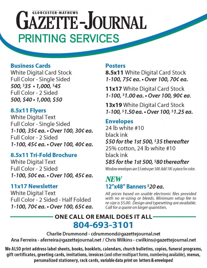 Gazette Journal Printing Services price list